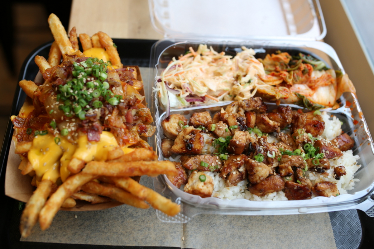 Kimchi fries with bacon at bopNgrill in Lakeview | Resident Foodies